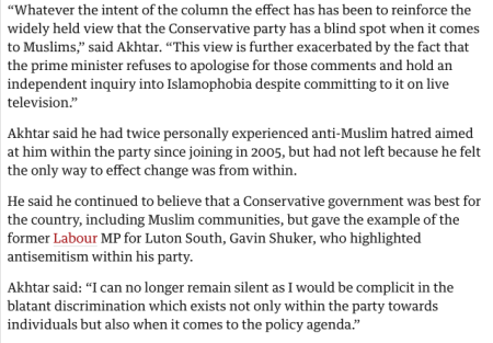 Quote from a Guardian article on Islamophobia