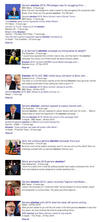 "Google search results for ""election news"" skewed towards Tories"