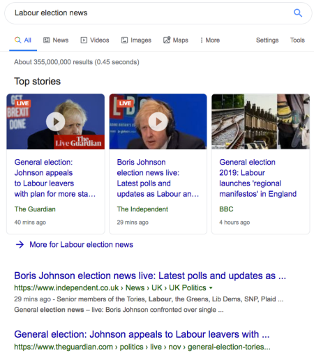 Even a search for Labour election news favours Boris