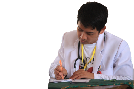 Doctor writing in pad